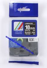 Laminated Brother P-Touch TZ (TZ2)-345 compatible18mmx8mm White-On-Black Tape