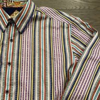 Robert Graham Button Down Shirt Flip Cuff Multi Color Striped Mens Large L EUC