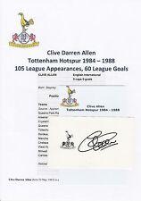 CLIVE ALLEN TOTTENHAM HOTSPUR 1984-1988 ORIGINAL HAND SIGNED CUTTING/CARD