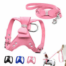 Cute Bling Rhinestone Dog Harness and Leads Leash Soft Suede for Small Dog Puppy