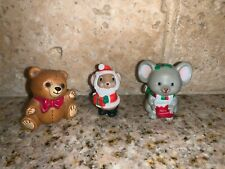 Hallmark Merry Miniature Christmas Figure Lot of 3 Bear Mouse Santa Mouse # S20