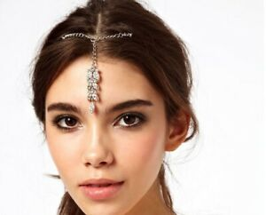 Women Flower Crystal Hair Tikka Clip Indian Head Jewelry Party Wedding