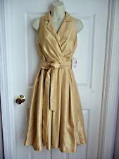 Jones Studio Dressbarn Dress 8 NWT Yellow Sleeveless Pleated Draped Front $60
