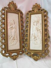 Vintage 1971 Homco Dart Ind pair Wall Plaques Pictures Greek Goddess Cherub