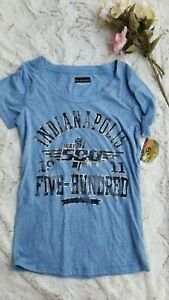 NWT 5th & Ocean Indianapolis 500 Powder Blue Tshirt With Black Silver Letters S