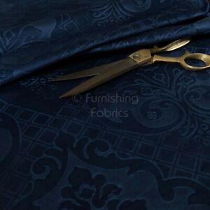 New Furnishing Embossed Damask Velvet Upholstery Fabric In Navy Blue Colour