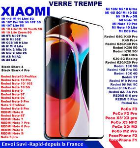 Verre Trempé Xiaomi Mi Redmi Note 11 11i 10 8 7 6 5 10S 9T 8T 9S LITE PRO F3 M3