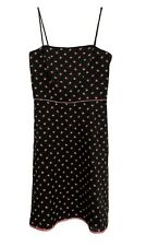 NWT A.B.S By Allen Schwartz Spaghetti Strap Dress Black Rose Pattern 4