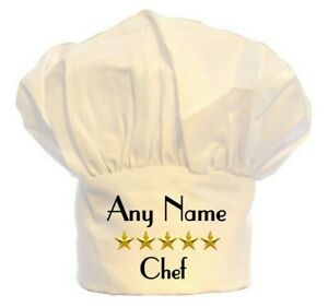 PERSONALISED 5 STAR CHEFS HAT PRINT 100% POLYESTER BBQ BIRTHDAY CHRISTMAS