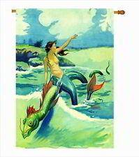 Mermaid riding a Sea Serpent T-Shirt Flag 28x40 Banner Nautical Ocean Beach
