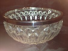 English Handmade Lead Crystal Raimond Silver Plate Trimmed Large Bowl Rare Cut
