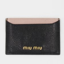 AUTHENTIC Miu Miu Black Pink Card Holder Two Tone Madras Leather Wallet