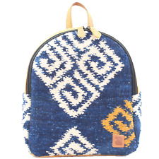 Urban handmade minibackpack Water natural wool and leather padded hidden pocket