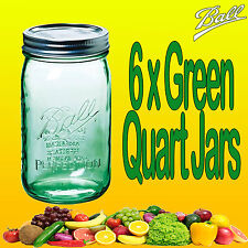 6 x Ball Mason Quart GREEN Wide Mouth Jars and Lids Weddings Parties Fermenting