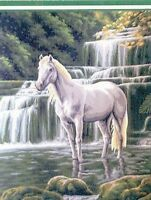 Horse At The Waterfall Tapestry Canvas Collection D Art