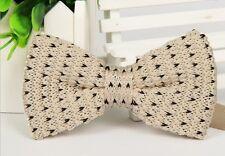 ZZBW226 Men's Beige Black Pattern Bowtie Knit Knitted Pre Tied Bow Tie Woven