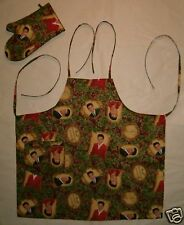 Christmas Holiday Barbeque Apron & Oven Mitt made with Elvis Presley Fabric