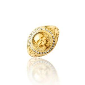 Mens Skull Ring, Mens Silver Ring, Silver Signet Ring Man, Gold Skull Ring Gift