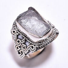 925 Sterling Silver Ring Size US 7.5, Raw Aquamarine Handcrafted Jewelry RSR1744