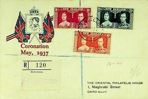 NEW ZEALAND 1937 PRE WWI CORONATION OF KGVI & QEII REGD COVER W/ 3v TO EGYPT