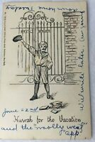 Postcard Posted 1906 Boys School Gate Boy Hurrah For Vacation Art Deco Huld