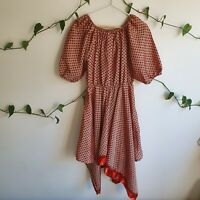 Tree of Life Pink Batik Print Asymmetric Hem Boho Hippy Dress S-M Made in India