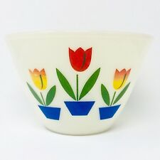 Anchor Hocking Fire King Tulip Ivory Mixing Bowl Vintage Tulips Glass Mid Mod