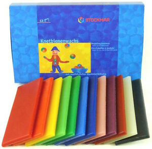 Stockmar 100% Pure Modeling Beeswax 12 Color Sheets Hygenic Safe for Kids 628504
