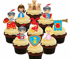 Knights & Princess, 36 Edible Cup Cake Toppers, Boy / Girl Stand-up Decorations