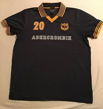 ABERCROMBIE collared T-shirt chest motif blue & yellow trim Size Medium