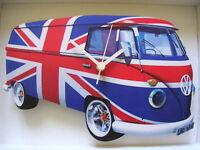 Union Jack Flag Design Classic VW Camper Van Wall Clock. New & Boxed