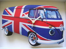 Union Jack Flag Design Classic VW Camper Van Wall Clock. New & Boxed