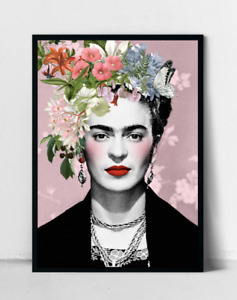 Pink Frida Kahlo Floral Poster, Home Decor, Art Print