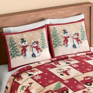 Set of 2 Country Snowman Ultra Cozy Fleece Christmas Standard Pillow Shams