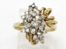 Right Hand Ring .90ct 7.9g 14k Yellow Gold Round Diamond Cluster