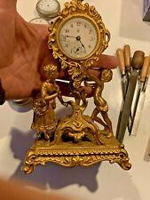 New Haven Cast Cherob Boudoir Clock Gilt 8 1/2 tall