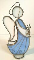 Leaded Stained Glass Angel Holding Flowers Figurine
