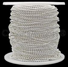 Ball Chain Spool - 30 Feet - Shiny Silver Color - 1.5mm Ball - 10 Yards Bulk
