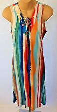 New Philosophy Dress S Shift Sleeveless Multi Color Stripe Stretch Cut & Sew