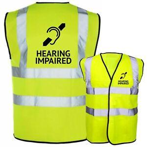 Hearing Impaired Deaf Aid Printed Hi Vis Safety Vest Hi Viz Waistcoat Tabard NEW