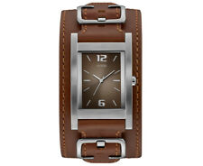 GUESS Women's 31mm Saddle Up Leather Cuff Watch - Silver/Brown