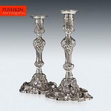 More details for antique 19thc georgian solid silver pair of cast candlesticks, e farrell c.1815