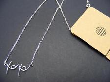 "$12 South Sun *XOXO* Hugs & Kisses Chain Necklace Dainty 18"" Silvertone Metal"
