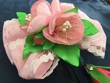 Haarschmuck rosa Blumen Schleife Spange Handarbeit
