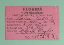 1999 Florida Non-Resident 3-Day Saltwater Fishing License.Free Shipping!