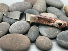 """W.A. Surls WAS Bone Handle Mosaic Studs w/White Liner 8.5"""" Hunting Knife"""