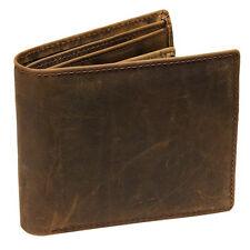 Genuine Leather Men Bifold Wallet Vintage Coin Purse Short Card Holder Wallet