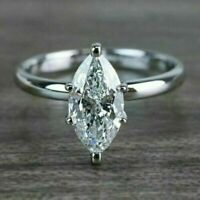 2.00 Ct Marquise Cut Diamond Solitaire Engagement Ring 14k White Gold Over