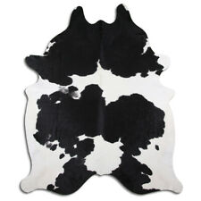 Real Cowhide Rug Black & White Size 6 by 7 ft, Top Quality, Large Size