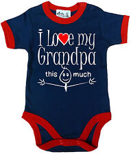 """Funny Baby Bodysuit """"I Love My Grandpa this Much"""" Trimmed Babygrow Grandfather"""